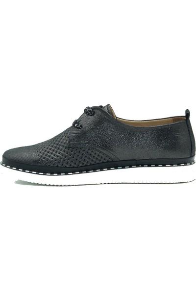 Stella Kadın Deri Günlük Ayakkabı 20234 Simli.Siyah