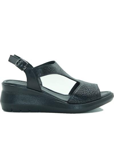 Stella Kadın Deri Sandalet 20231 Siyah