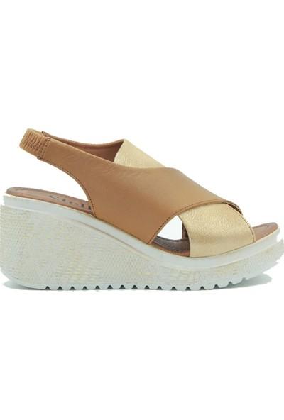 Stella Dolgu Taban Kadın Deri Sandalet 20344 Simli Taba