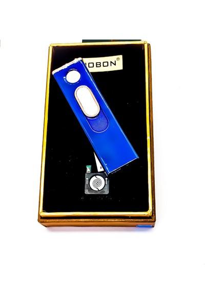 Jobon USB Şarjlı Rezistanslı Metal Çakmak Lacivert