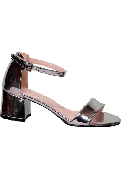 Zarif Gümüş Tekbant Kalın Topuklu Ayakkabı 39