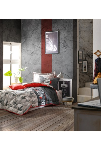 Cotton Box Genç Odası Tek Kişilik Uyku Seti Rock Kırmızı