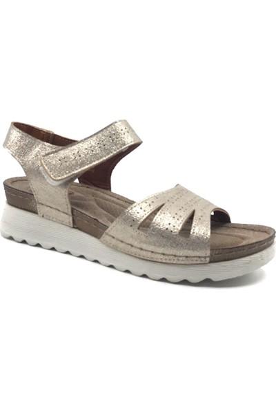 Polaris 161167 Altın Ultra Soft Kadın Yazlık Sandalet Ayakkabı
