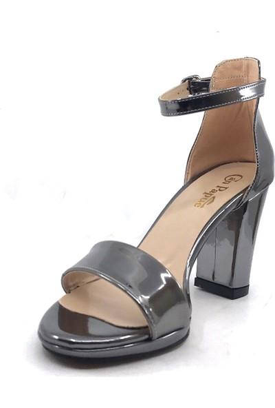 Ayakkabımood Can Papuc Koyu-Gri 9 cm Topuklu Cilt Kadın Günlük Ayakkabı