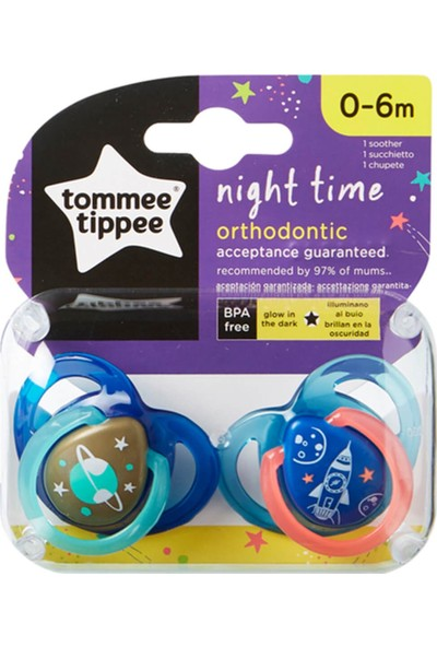 Tommee Tippee Ortodontik Gece Emziği 2'li 0-6 Ay
