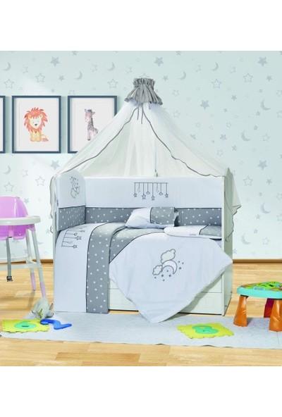 Aras Bebe 70 x 130 cm Yıldızlı Uyku Seti - Gri Pamuklu Yıldız Model