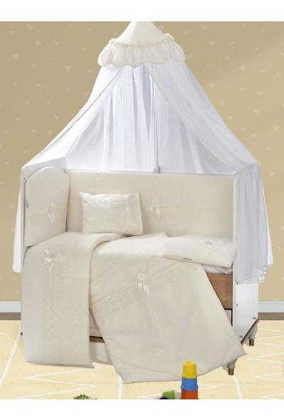 Aras Bebe 80 x 130 cm Güpürlü Uyku Seti - Krem Pamuklu Ebrar Model