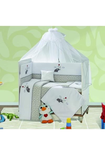 Aras Bebe 70 x 130 cm Gri Yıldızlı Filli Uyku Seti - Nazo Model