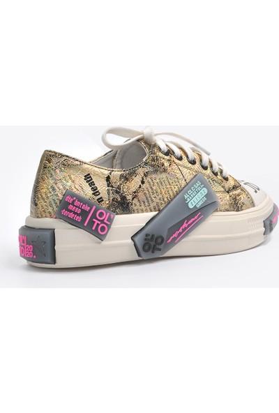 Vizon Ayakkabı Kadın Altın Sneaker VZN20-058Y