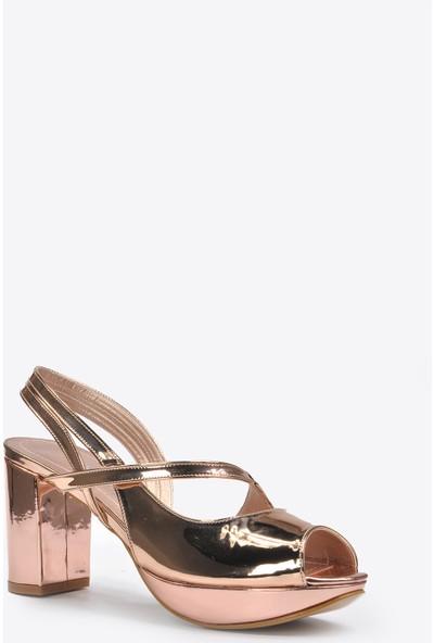 Vizon Ayakkabı Kadın Bakır Klasik Topuklu Ayakkabı VZN20-046Y