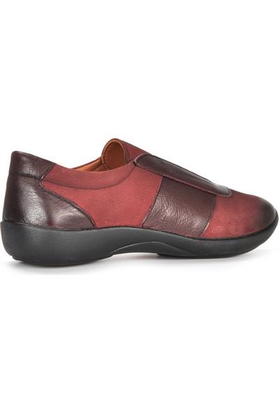 Vizon Ayakkabı Kadın Bordo-Nubuk Casual Ayakkabı VZN19-158K