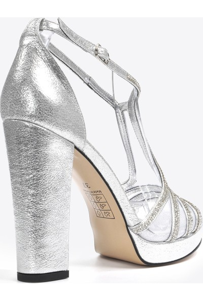 Vizon Ayakkabı Kadın Gümüş Klasik Topuklu Ayakkabı VZN20-040Y