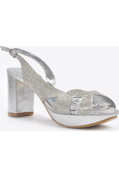 Vizon Ayakkabı Kadın Gümüş Klasik Topuklu Ayakkabı VZN20-042Y