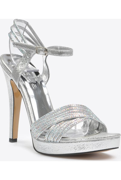 Vizon Ayakkabı Kadın Gümüş Klasik Topuklu Ayakkabı VZN20-050Y