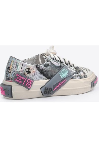 Vizon Ayakkabı Kadın Gümüş Sneaker VZN20-058Y