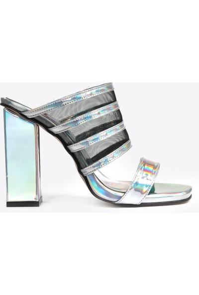 Vizon Ayakkabı Kadın Gümüş Terlik VZN20-019Y