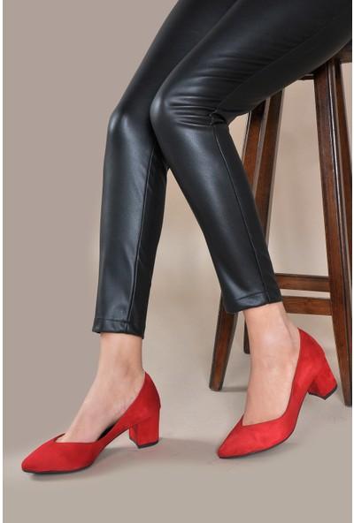 Vizon Ayakkabı Kadın Kırmızı-Süet Klasik Topuklu Ayakkabı VZN20-005Y