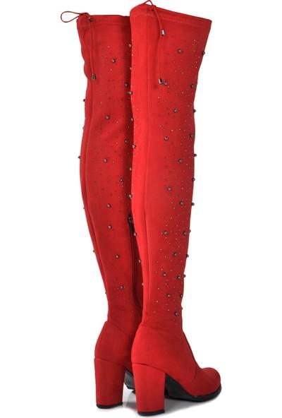 Vizon Ayakkabı Kadın Kırmızı-Taş Çizme VZN19-108K
