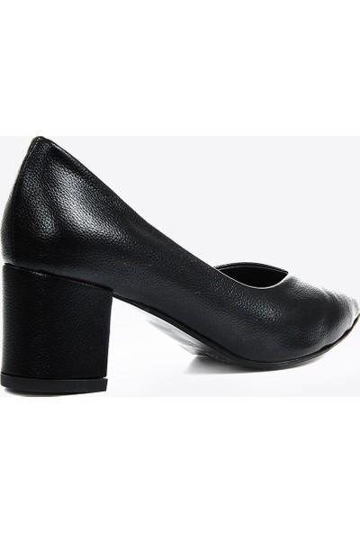 Vizon Ayakkabı Kadın Siyah- Baskı Klasik Topuklu Ayakkabı VZN20-005Y