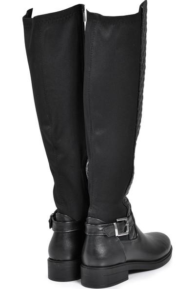 Vizon Ayakkabı Kadın Siyah-Cilt Çizme VZN19-157K