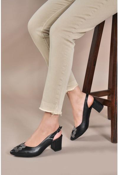 Vizon Ayakkabı Kadın Siyah-Cilt Klasik Topuklu Ayakkabı VZN20-009Y