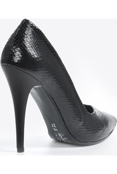 Vizon Ayakkabı Kadın Siyah-Petek Klasik Topuklu Ayakkabı VZN20-001Y