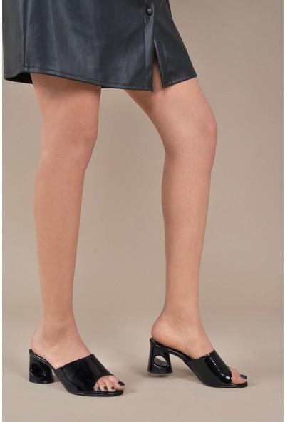 Vizon Ayakkabı Kadın Siyah-Rugan Terlik VZN20-026Y