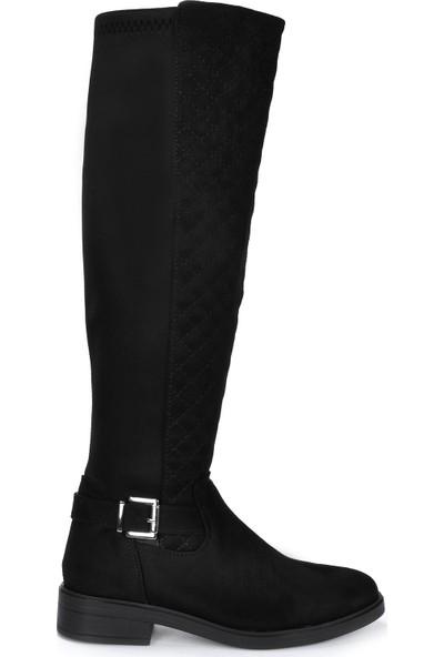 Vizon Ayakkabı Kadın Siyah-Süet Çizme VZN19-157K