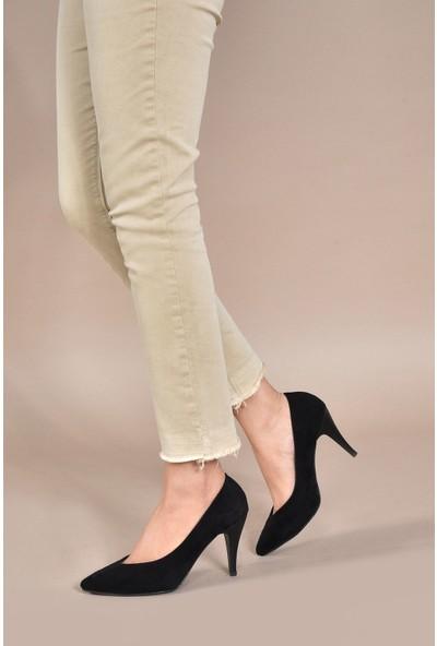 Vizon Ayakkabı Kadın Siyah-Süet Klasik Topuklu Ayakkabı VZN20-002Y