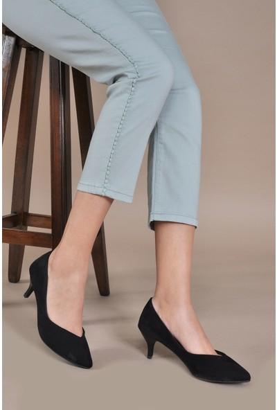 Vizon Ayakkabı Kadın Siyah-Süet Klasik Topuklu Ayakkabı VZN20-017Y
