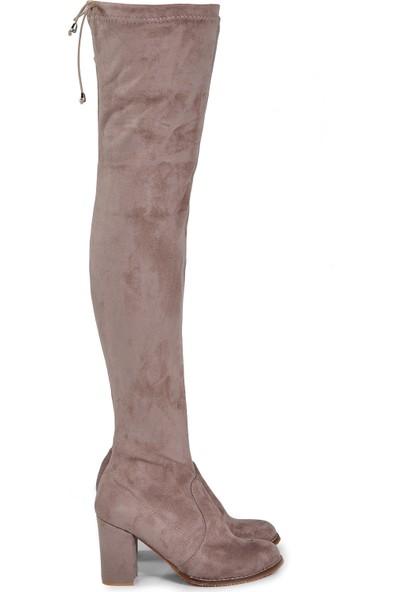 Vizon Ayakkabı Kadın Vizon-Süet Çizme VZN19-108K