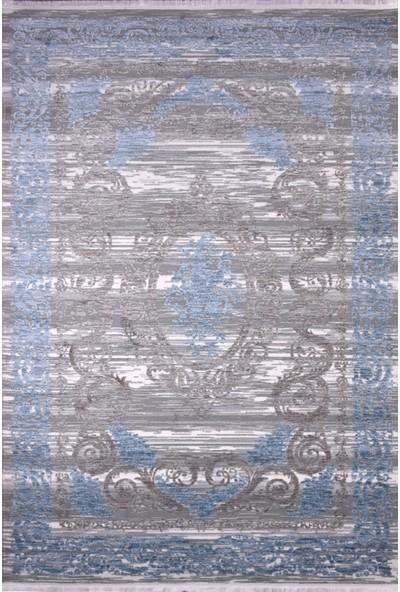 Saf Ipek Halı Yün Gri Mavi Krem 200 x 290 cm 6m2 Halı Sln 6531