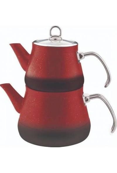 Remetta Granit Aile Boy Çaydanlık Metal Kulp Kırmızı