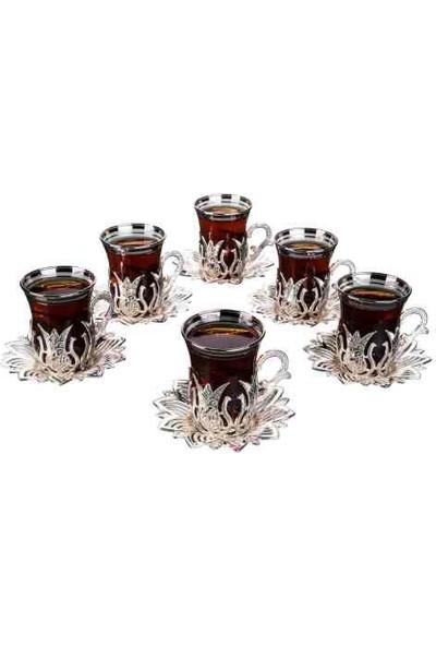 Busem Ahsen Çay Seti 6 Kişilik 18 Parça Gümüş Renkli