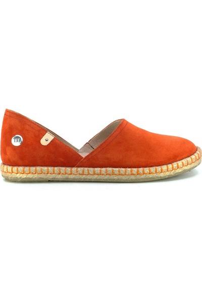 Mammamia D20YA-140 Kadın Deri Espadril Ayakkabı Turuncu