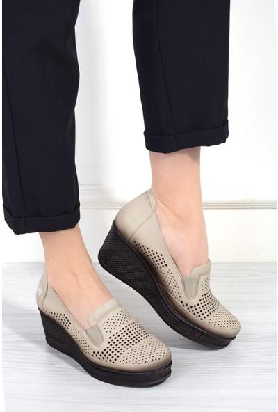 Mammamia D20YA-3290 Kadın Deri Ayakkabı Bej