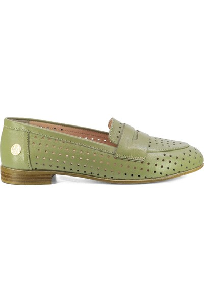 Eşle 2200 Kadın Deri Günlük Ayakkabı Yeşil