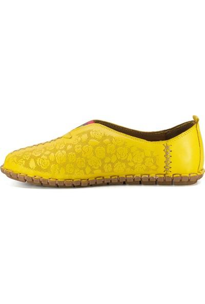 Eşle 3515 Kadın Deri Espadril Ayakkabı Sarı