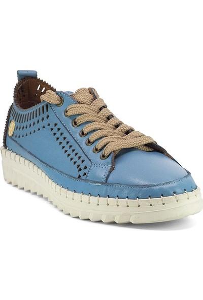 Eşle 3757 Kadın Deri Espadril Ayakkabı Mavi