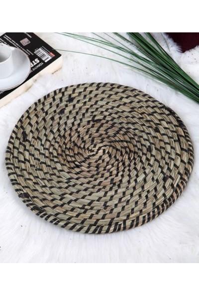 Netodak Siyah Renkli Dekoratif Amerikan Hasır Servis Supla Örme Bambu