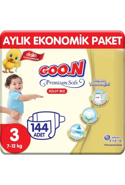 Goon Premium Soft Külot Bez 3 Beden Aylık Ekonomik Paket 144 Adet