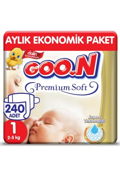 Goon Premium Soft Bebek Bezi Yenidoğan 1 Beden Aylık Ekonomik Paket 240 Adet