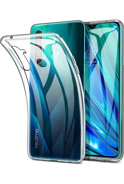 Case 4U Realme 5i Kılıf Süper Silikon Arka Kapak + Cam Ekran Koruyucu Şeffaf