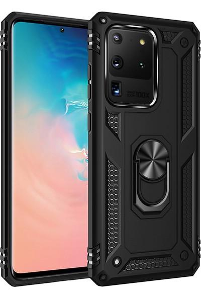 Happyshop Samsung Galaxy S20 Ultra Kılıf Ultra Korumalı Yüzüklü Manyetik Vega Kapak - Siyah
