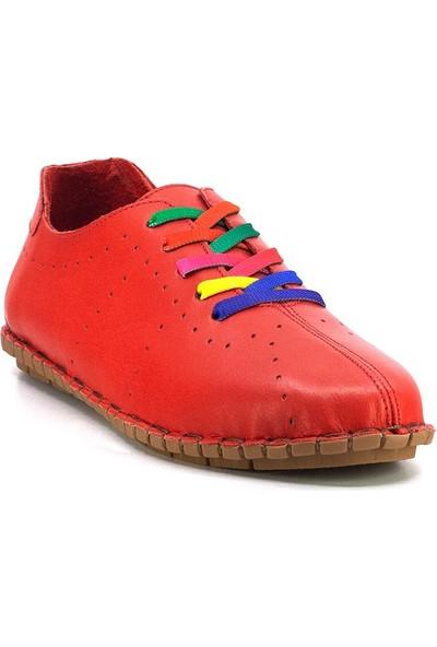 Eşle Ayakkabı 20Y 7817 Kadın Deri Espadril Ayakkabı Kırmızı