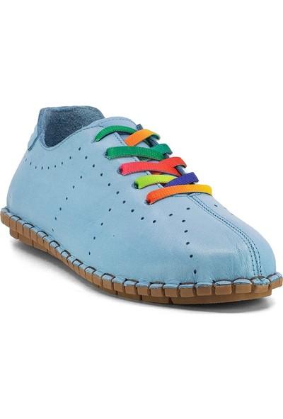 Eşle Ayakkabı 20Y 7817 Kadın Deri Espadril Ayakkabı Mavi