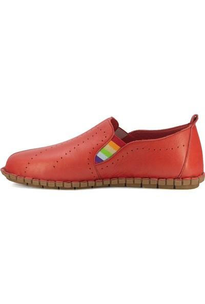 Eşle Ayakkabı 20Y 7820 Kadın Deri Espadril Ayakkabı Kırmızı