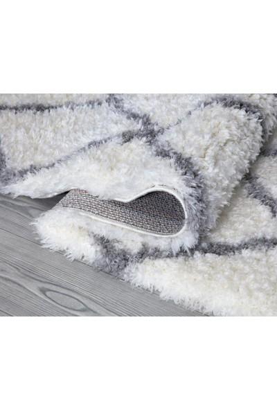 Kuga Halı Gri Beyaz Ekose Post Halı 80 x 150 cm