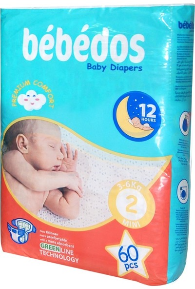 Bebedos Bebek Bezi 2 No. Mini Boy 60'lı Paket