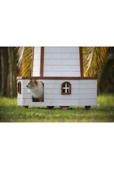 Mandu Ahşap Yel Değirmenli Kedi Evi